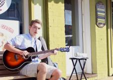 MaRS student Chris Short performs on Salem Street